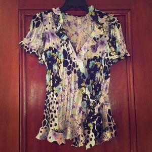 Pretty and Flirty Colorful Sheer Tie Front Blouse